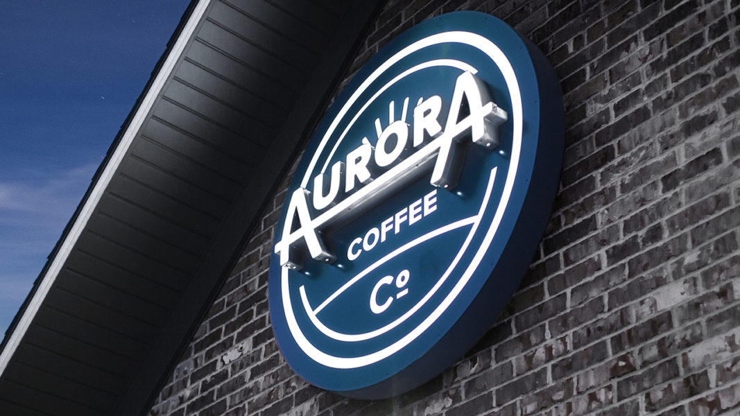 Aurora Coffee Co sign