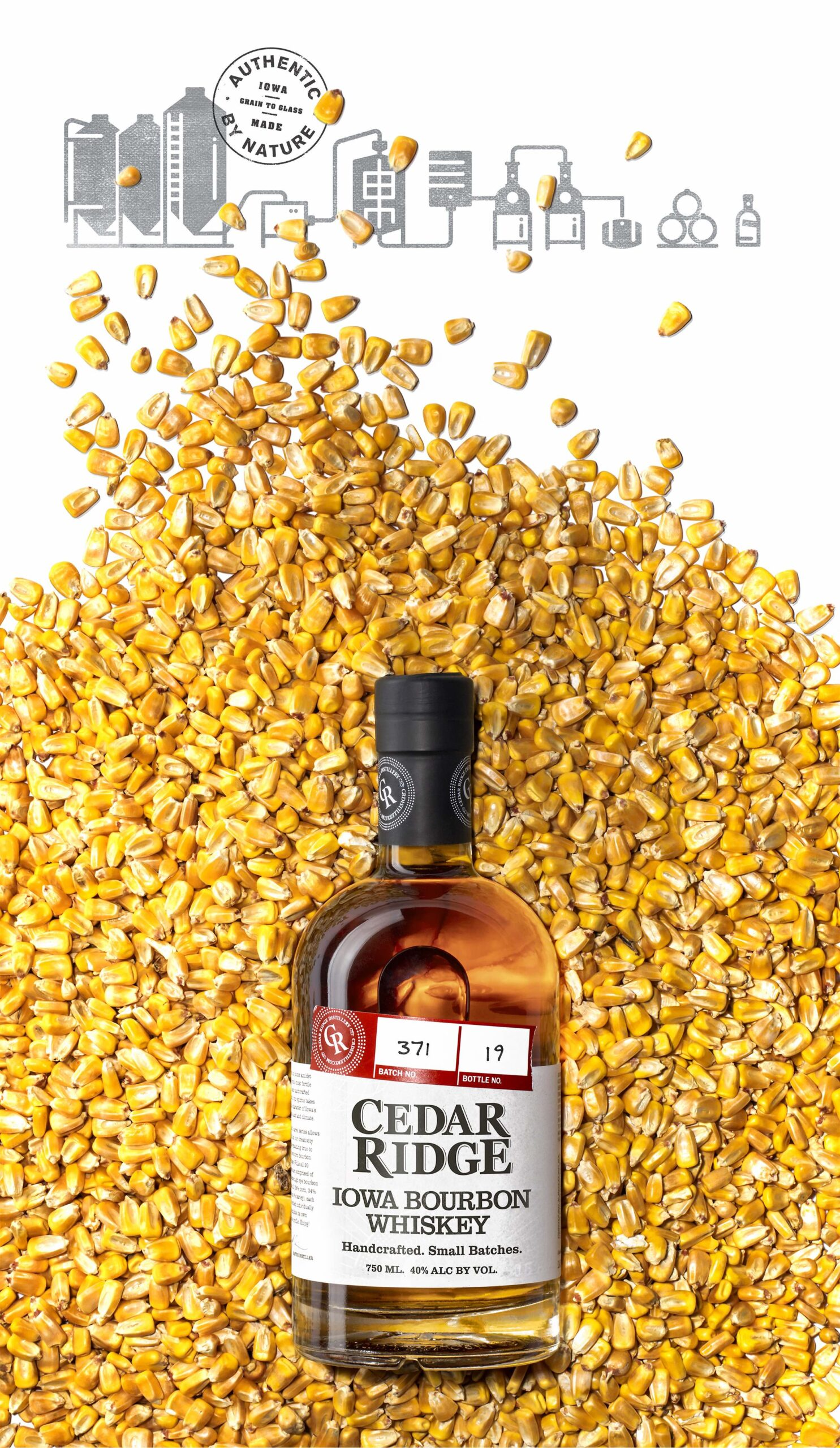Cedar Ridge bottle in corn