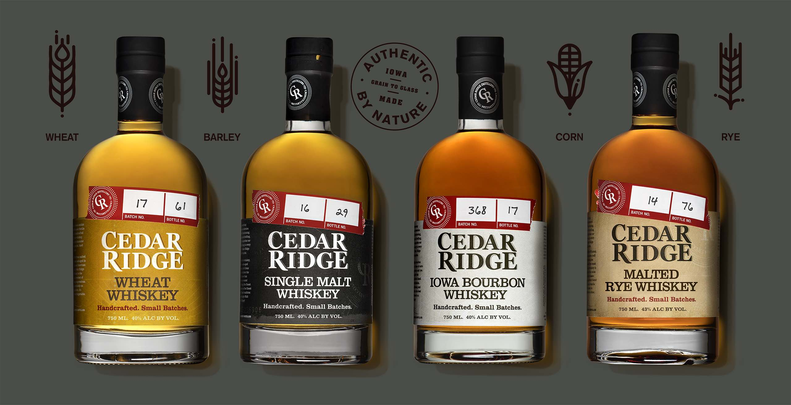 Cedar Ridge Distillery bottle line up