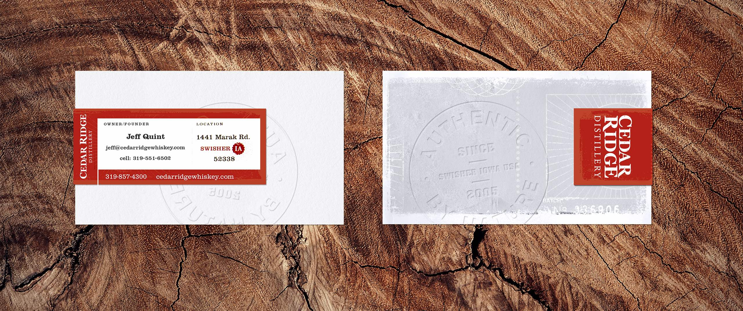 Cedar Ridge Distillery business cards