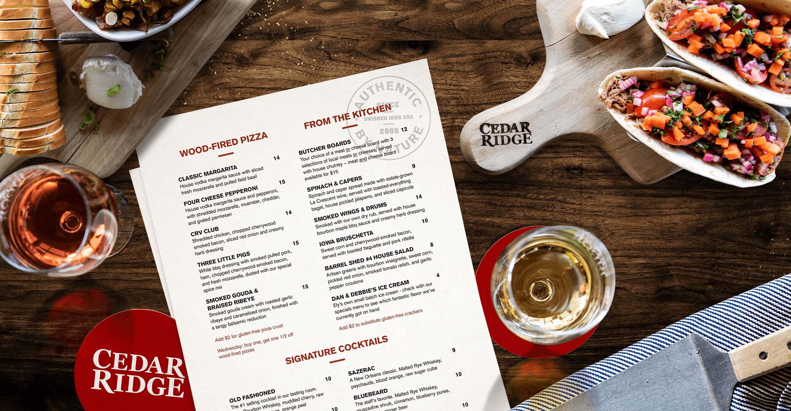 Cedar Ridge menu