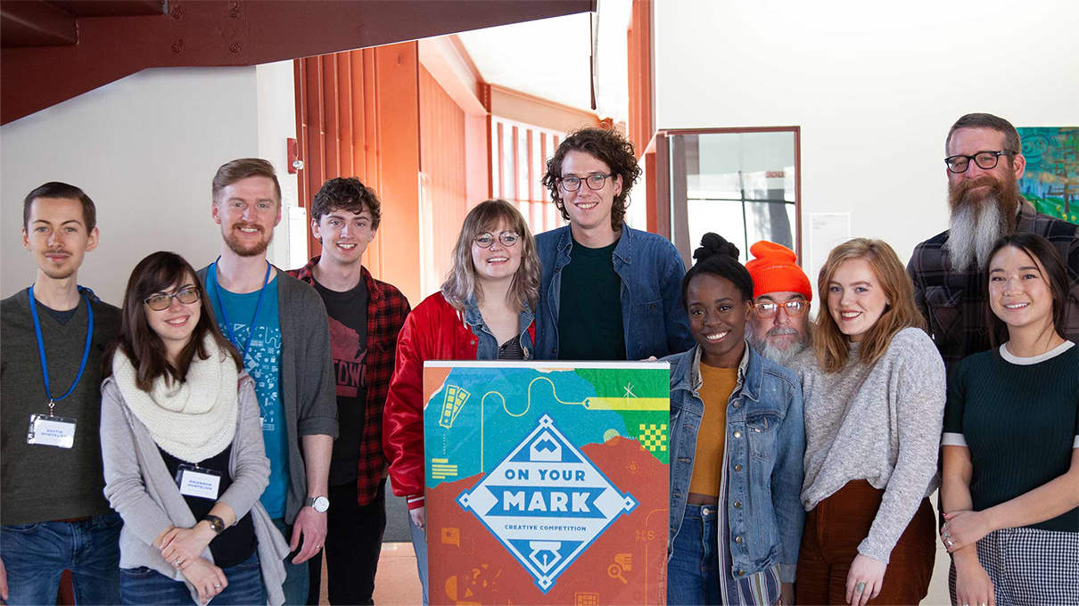 Students and facilitators gathered for the On Your Mark design workshop