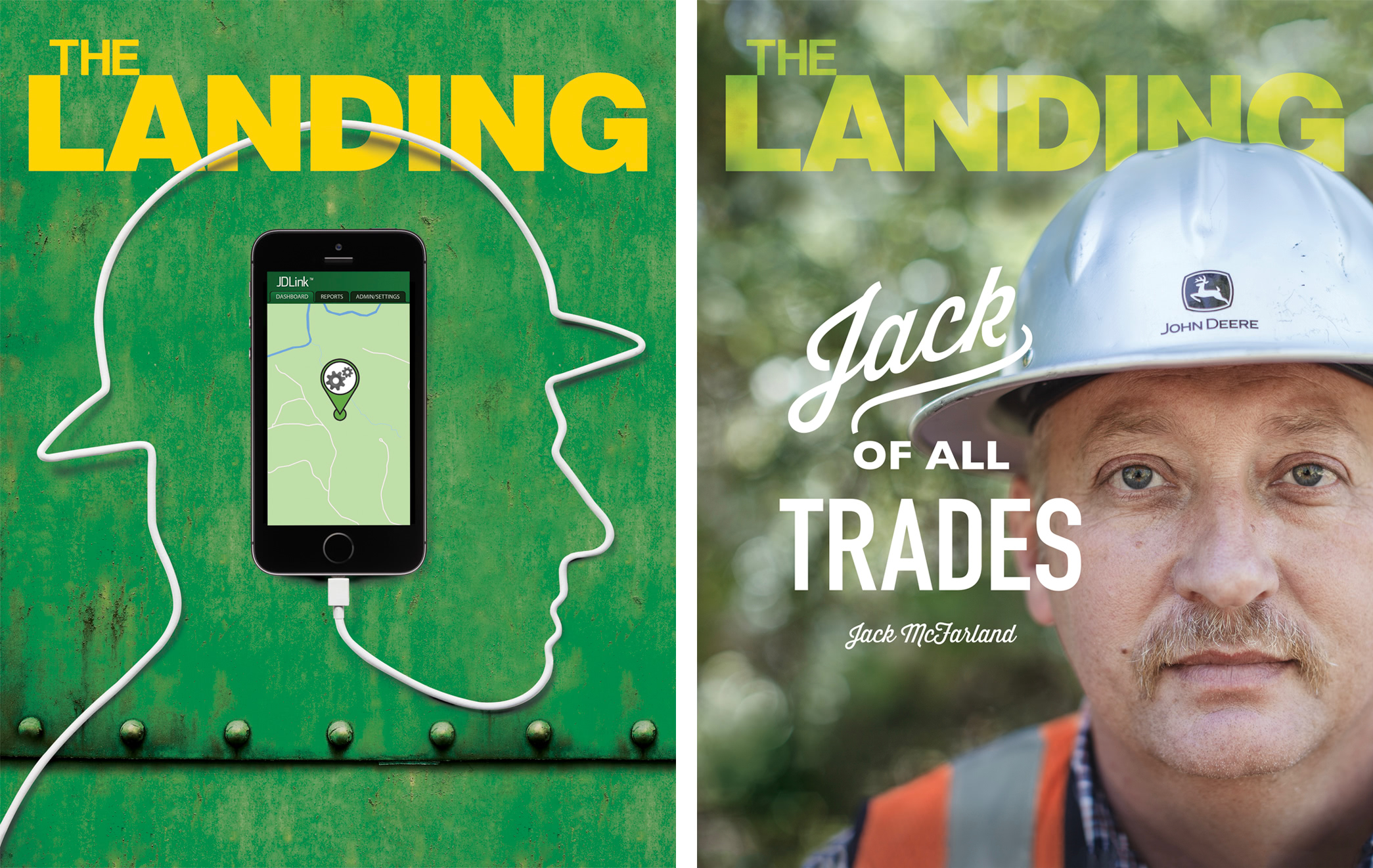 Past covers of The Landing magazine