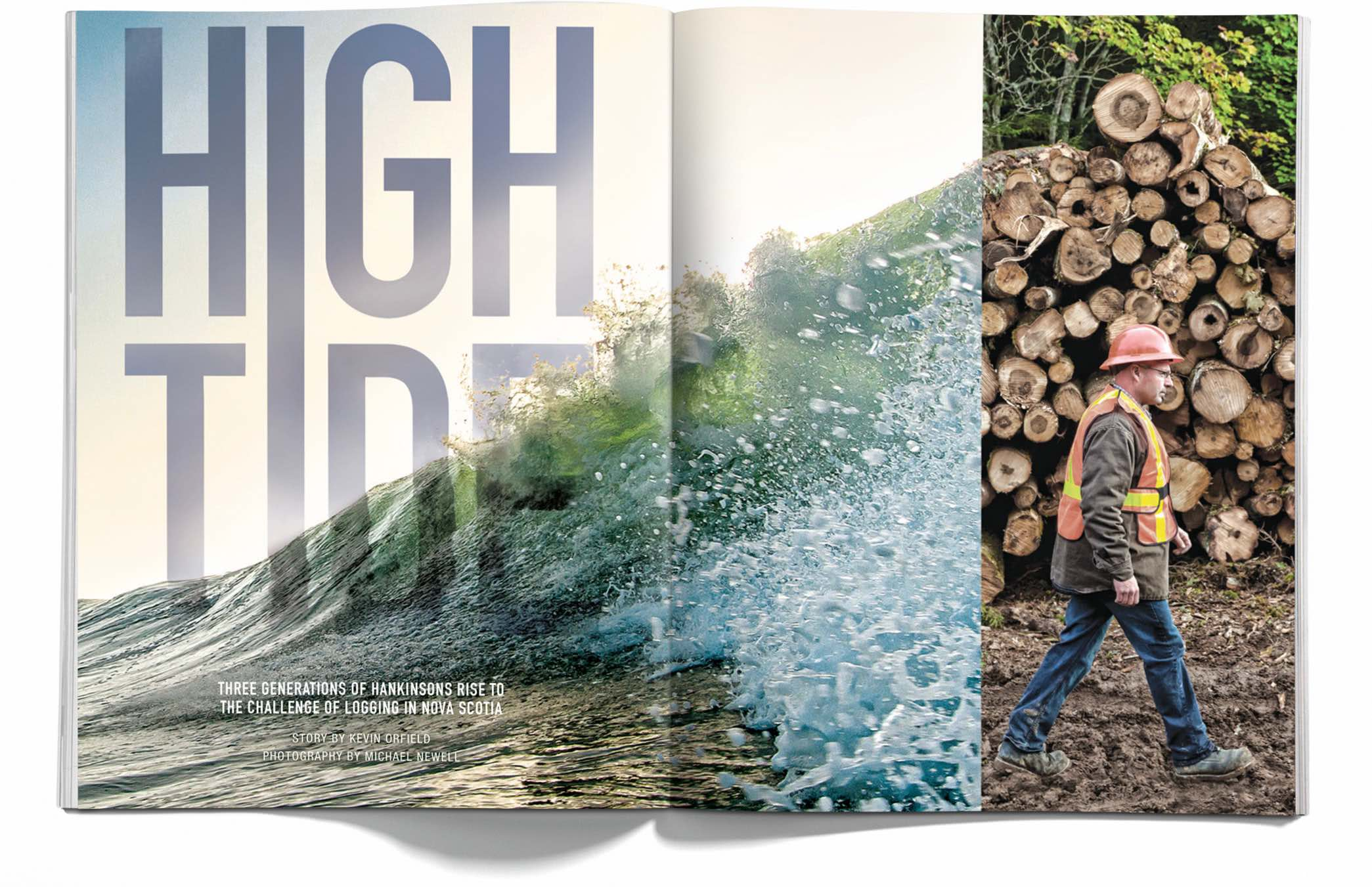 An example of a spread in The Landing magazine